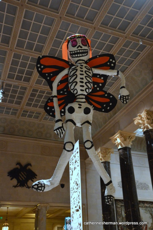 Paper Mache Skeleton with Monarch Butterfly Wings