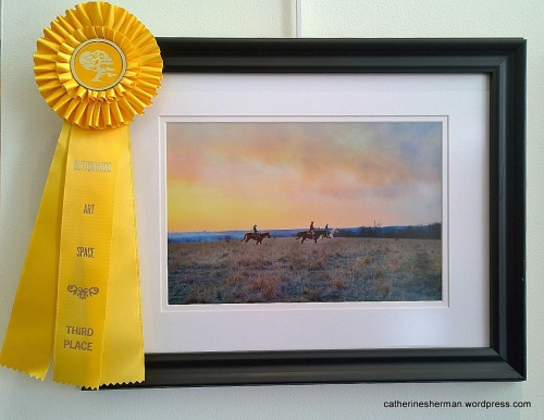 My third-place ribbon in photography in the 2015 Visions of the Flint Hills art show at the Buttonwood Art Space in Kansas City, Missouri.