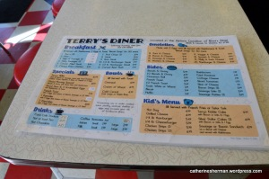 Menu of Terry's Diner, which has maintained the sign and location of Brint's Diner in an historic Valentine diner building in Wichita, Kansas.