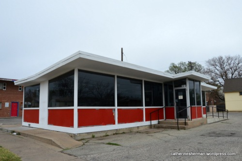 This Valentine Diner building in Wichita, Kansas, formerly a Lil Joe's Dyne-Quik, is now closed. Sign says that the building was closed due to unsafe conditions.