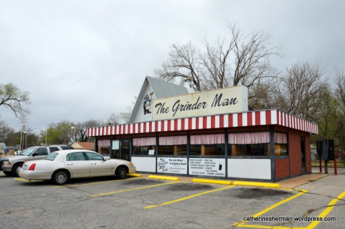 The Grinder Man sandwich shop in Wichita, Kansas, is an A-frame model of a Valentine Diner.