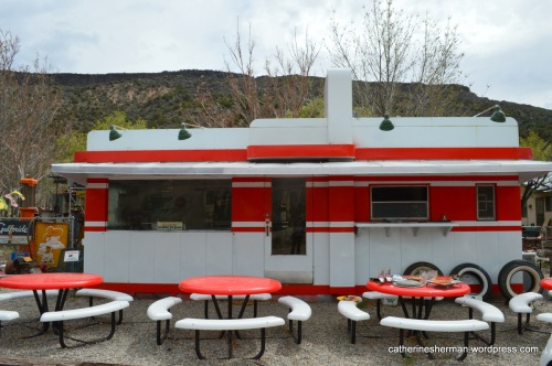 I first saw a Valentine diner at the Classical Gas Museum in Embudo, New Mexico. The museum, in the Rio Grande River Valley, is a collection of antique gas pumps, neon signs, soda machines, oil cans, vintage trucks and cars, plus plenty of other items.