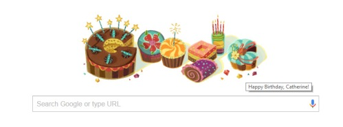 Happy birthday to me from Google. This was the Google Doodle on my Google Chrome homepage on my birthday. Thank you, Google. (I think...)