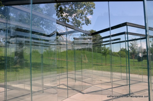 I'm in the center of the Glass Labyrinth at the Nelson-Atkins Museum of Art, Kansas City, Missouri. You can see a bit of my reflection.