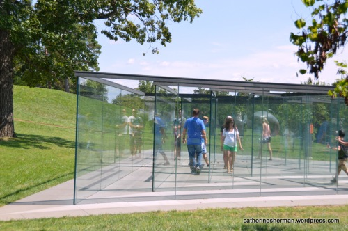 Kansas City native Robert Morris designed this Glass Labyrinth, which is in the Donald J. Hall Sculpture Park at the Nelson-Atkins Museum of Art, Kansas City, Missouri.