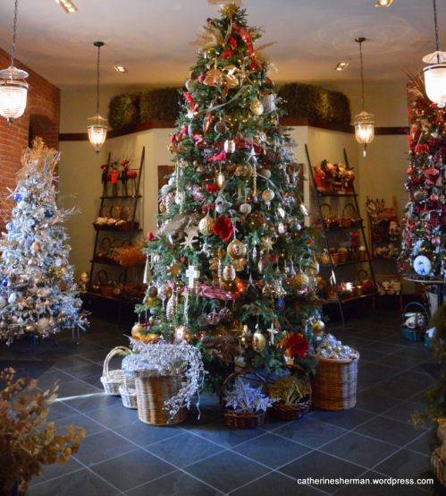 The old Webster School is now a restaurant and store. Here beautifully decorated trees display Christmas ornaments for sale.