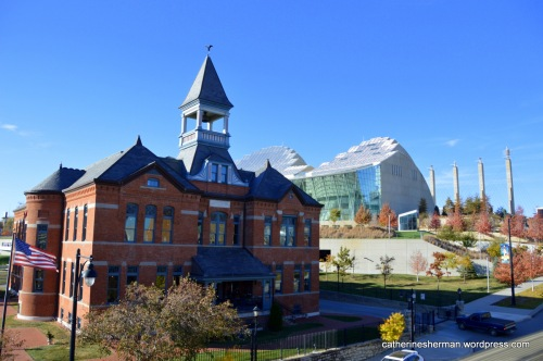 The historic Webster House has been transformed from a school to a beautiful shopping and dining destination. It stands next to the modern Kauffman Center for the Performing Arts in the Crossroads Arts District of Kansas City, Missouri.