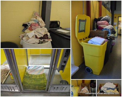 Towels of every size are available throughout the animal shelter. On the lower left, a dog bed is made up with a couple of towels, ready for the next occupant.