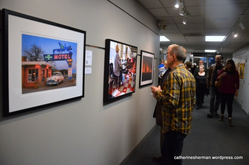 "The first time I entered ""Valentine Diner"" was the 2016 annual juried ""State of the Arts"" show in Prairie Village, Kansas. Only one artwork from each artist is accepted and it must have been produced within the two previous years. The photograph of the Blue Swallow Motel on the left is by my friend Marla Craven."