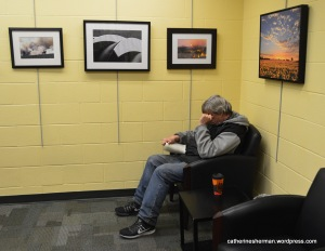 Here a man enjoys reading a book in a quiet corner of Corinth Library where my photographs are on display. A photography group I belong to displayed some of the member photographs in the library, which is a branch of the Johnson County Library. The Johnson County Library displays a wide range of art in changing exhibitions.