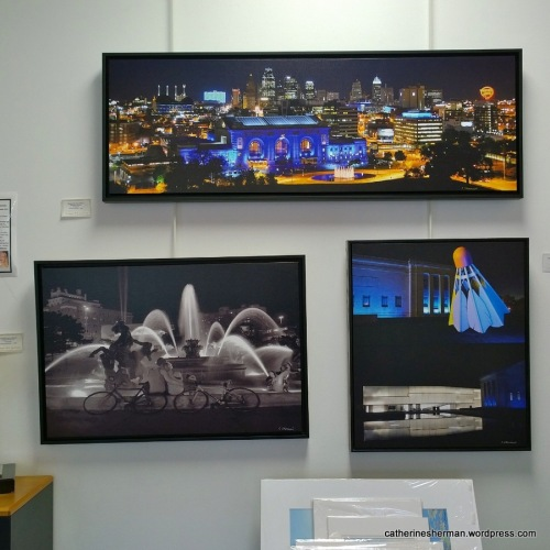My photographs of night views of Kansas City iconic features, which was on display at Images Art Gallery, Overland Park, Kansas, in 2016.