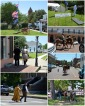 Re-enactors in Jefferson, Texas, for the Battle for Jefferson, a U.S. Civil war re-enactment, which takes place the first weekend in May. Some of the many historical buildings are visible in this collage: The Old Post Office, the Marion County Courthouse, Excelsior House hotel; and Immaculate Conception Catholic Church.