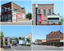 Buildings around the Titus County Courthouse in Mount Pleasant, Texas, a Texas Main Street City. In the lower left photograph, carnival rides are loaded, after the Cinco de Mayo Festival on the Square.