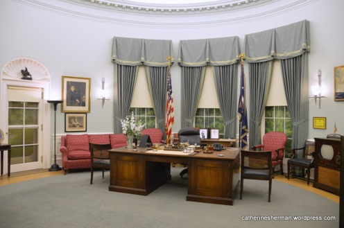 Replica of the Harry S. Truman Oval Office in the White House, which is an exhibit in the Harry S. Truman Presidential Library and Museum Independence, Missouri.