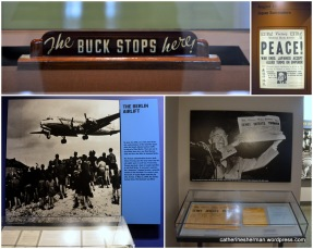 "During Harry S. Truman's presidency: ""The Buck Stops Here"" sign was on Truman's desk, meaning that he wasn't going to 'pass the buck"" (decision) on to someone else; The end of World War II depicted in a newspaper; the Berlin Airlift during the Cold War; A newspaper headline gets it wrong."