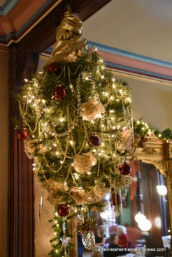 This chandelier -- or upside down -- Christmas tree hangs in the entry of the Vaile Mansion in Independence, Missouri.
